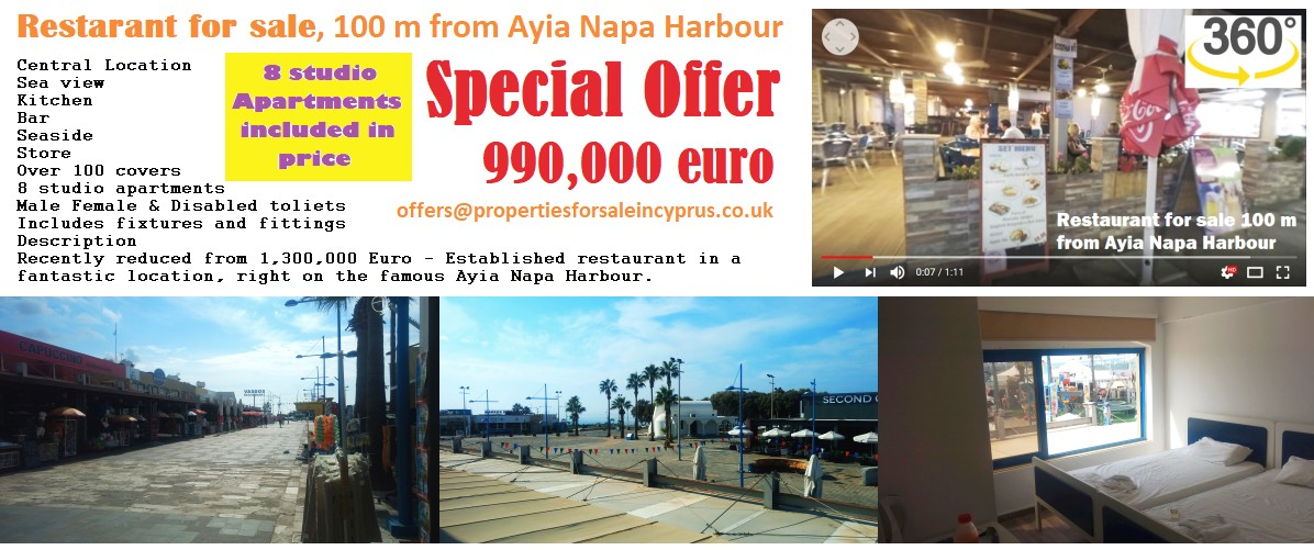 Restaurant for sale in Cyprus Ayia Napa